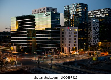 Oslo, Norway - June 20, 2014: Modern buildings known as Barcode Project in downtown of the neighbourhood of Bjorvika