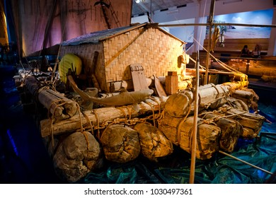 Oslo, Norway - June 20, 2014: View of the Kon-Tiki in Kon-Tiki Museum