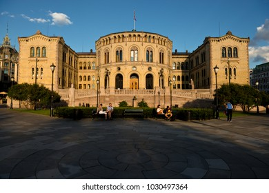 Oslo, Norway - June 20, 2014: Evening view of the Parliament of Norway