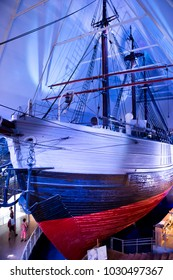Oslo, Norway - June 20, 2014: View of the Fram ship in Fram Museum