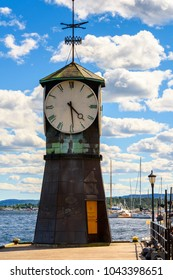 OSLO, NORWAY - JUNE 20, 2017: Clock at the Harbour of Oslo, the capital of Norway