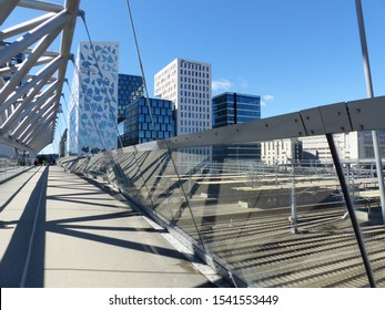 Oslo, Norway / Norway - June 2019: Facade and building of the Bar Code project in Oslo