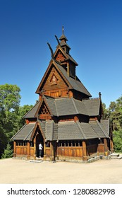 Oslo, Norway, June 4, 2018 - stave church from Gol in the Oslo Folk Museum