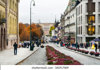 Oslo, Norway. Karl Johans street at center of Oslo. Taken on 2015/11/04