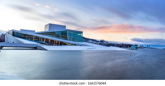 OSLO, NORWAY - MARCH 1 2020: National Oslo Opera House at sunrise. Oslo Opera House was opened on April 12, 2008 in Oslo, Norway