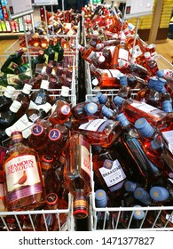 Oslo / NORWAY - March 25 2017 : Selective focusing on Small liquor bottles for sale in Souvenir shop