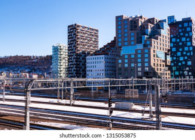 Oslo, Norway - March 28 2018: Barcode neighborhood in central Oslo