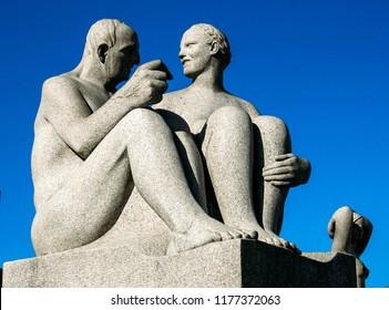 Oslo, Norway - May 02 2007: Human statues by Gustav Vigeland in Frogner Park