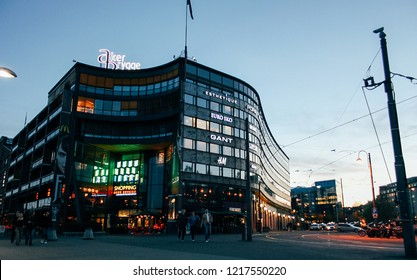 Oslo, Norway - May 02 2007: Exterior of modern mall Shopping Aker Brygge at evening