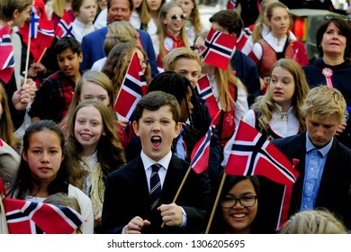 OSLO, NORWAY - MAY 17, 2016: March on Independence Day.  On the streets of Oslo people celebrate freedom.