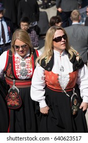 Oslo, Norway - May 17, 2016: Women wearing traditional Norwegian costume - bunad - on Norway's National Day, May 17th
