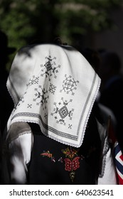 Oslo, Norway - May 17, 2016: traditional embroidered headscarf worn on the Norwegian Constitution Day, National Holiday