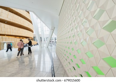 OSLO, NORWAY - MAY 31, 2017: The interior of the Oslo Opera House (Norwegian: Operahuset). It is the home of The Norwegian National Opera and Ballet, and the national opera theater.