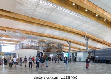 Oslo, Norway - May 31, 2018: Interior view of Oslo Gardermoen International Airport