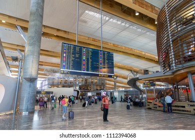 Oslo, Norway - May 31, 2018: Interior view of Oslo Gardermoen International Airport