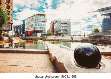 Oslo, Norway. Modern District Of Scandinavian Architecture. Exterior Building In Aker Brygge Is A Popular Area For For Shopping, Dining, And Entertainment In Oslo, Norway