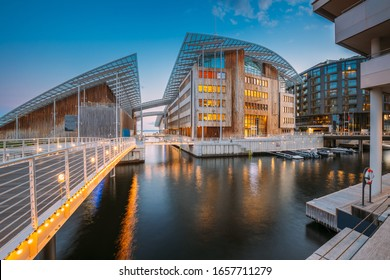 Oslo, Norway. Museum of Modern Art In Residential Multi-storey Houses In Aker Brygge District In Summer Evening. Famous And Popular Place.