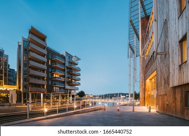 Oslo, Norway. Night View Of Residential Multi-storey Houses In Aker Brygge District. Summer Evening. Residential Area. Famous And Popular Place.