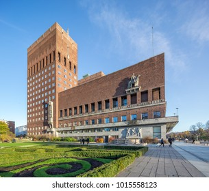 Oslo, Norway - Nov 11, 2017: View over the Oslo city hall, a municipal building in Oslo where the Nobel Peace Prize is awarded every year.