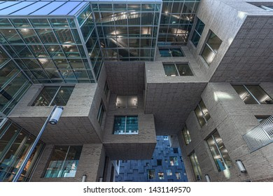 Oslo, Norway - November 11 2017: Architecture details of the DNB head office at Barcode in Oslo.