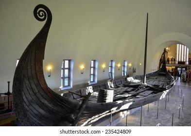 OSLO, NORWAY - NOVEMBER, 17: Viking drakkar in Viking museum in Oslo, Norway on November 17, 2013