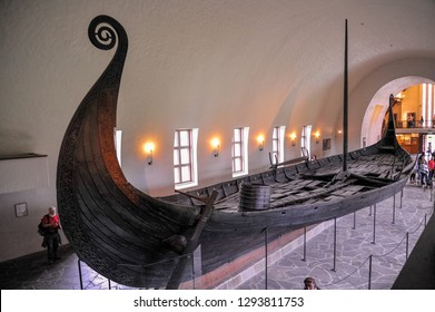 OSLO, NORWAY - OCTOBER 20: Long big viking boat drakkar ruin displaying in Viking Ship Museum of Bygdoy, Oslo, Norway