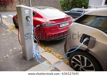 Oslo Norway October 2016 Electric Cars Stock Photo Edit Now