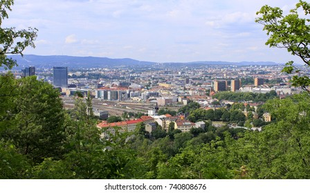 OSLO, NORWAY ON JUNE 30. View of Oslo City, the Capital of Norway from a hill on June 30, 2009 in Ekeberg Camping, Oslo. Buildings and railways. Trees this side.