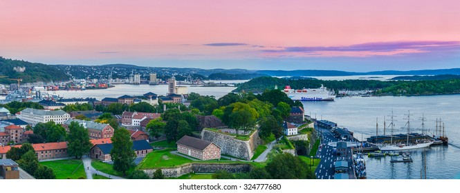 Oslo, Norway. A panoramic view of Oslofjord from the tower of City Hall (Radhuset). Taken on 2015/09/11