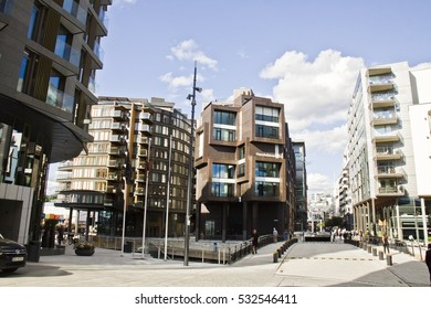 OSLO, NORWAY - SEPTEMBER 1, 2013: Typical Example Of Scandinavian Architecture. Exterior Building in Aker Brygge is a popular area for for shopping, dining, and entertainment in Oslo, Norway
