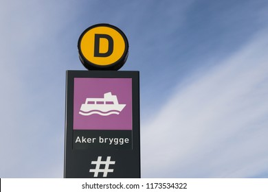 OSLO, NORWAY - SEPTEMBER 1, 2018: Aker brygge boat pier sign in Oslo city, Norway