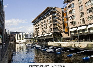 OSLO, NORWAY - SEPTEMBER 10, 2013:Tjuvholmen is one of Oslo's newest boroughs. Area is characterised by intriguing architectural diversity and unique outdoor areas