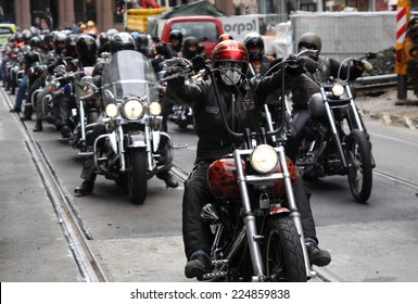 Oslo, Norway - September 14, 2013: Protest of motorcycle clubs. MC Bandidos, Gladiators, Hell's Angels, Coffin Cheaters, Road Pirates, Taurus and others held the protest against the police bias.