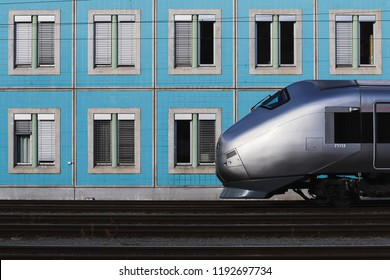 OSLO, NORWAY - SEPTEMBER 30, 2018: NSB high speed train at Lodalen junction in Oslo, Norway