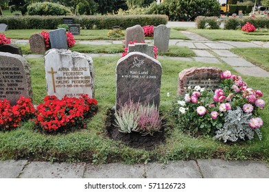 Oslo, NORWAY - SEPTEMBER 8, 2014: Old City Cemetery (Gamlebyen gravlund) The churchyard was originally consecrated in 1874. Some parts of it are much newer than others.