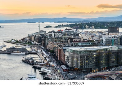 Oslo, Norway. A view at Oslofjord and Aker Brygge from the top of City hall (Radhuset) tower. Taken on 2015/09/11