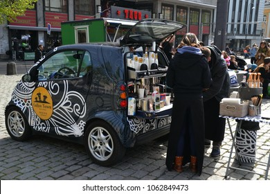 Oslo, Norway-05-09-2015: Tailgate food and drink vendor in the street of Oslo