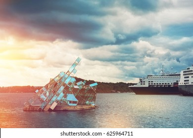 OSLO, NORWAY-MAY 19, 2016: The floating sculpture in front of the Oslo Opera House, namely She Lies made from steel and glass created by italian artist Monica Bonvicini and cruise ships at right side
