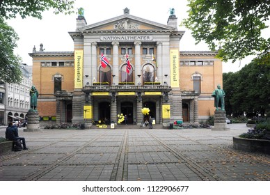 OSLO, NORWAY-SEPT. 16: The National Theater is seen with monuments in Oslo, Norway on September 16, 2017.