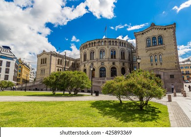 Oslo parliament in Norway in Oslo in a summer day