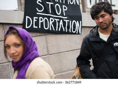 "OSLO - SEPTEMBER 12: A banner reads, ""Stop Deportation"", during a rally in support of Syrian refugees at the parliament building in Oslo, Norway, September 12, 2015."