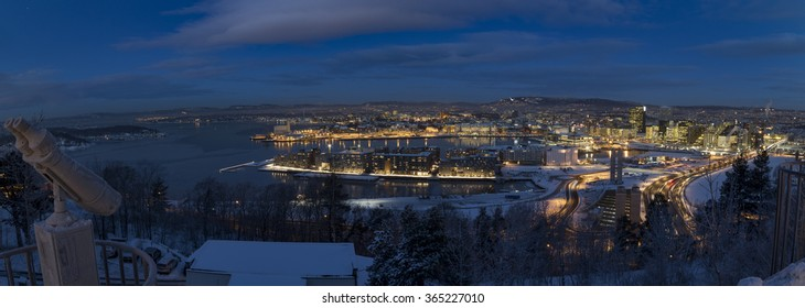 Oslo Skyline winter morning panorama