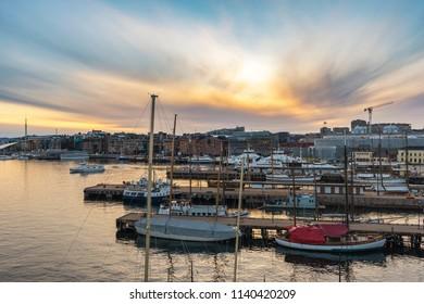 Oslo sunset city skyline at Oslo Harbour, Oslo Norway