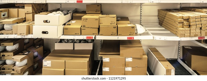 Oslo, Sweden - february 24, 2015: packages are stored on the Ikea shelves