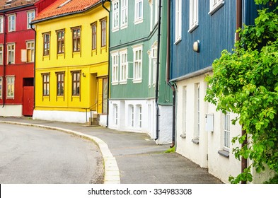 Rodel�¸kka in Oslo, the Wooden Village in the City, known for its old wooden house architecture, Scandinavia