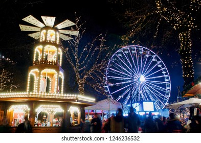"Oslo/Norway -1 December 2018: Jul i Vinterland - Christmas in Winterland; Christmas fair in the center of Oslo, around the ice skating rank ""Spikersuppa"" next to Karl Johans street"