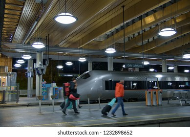 Oslo,Norway - December 31.2015 : Passengers walk in  Oslo city train from oslo airport to central of Oslo,Norway
