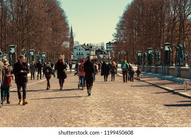 OSLO,NORWAY - MARCH 26,2018 : Tourist walking in the Vigeland park