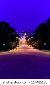 Oslo's main street Karl Johans Gate at night