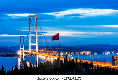 Osman Gazi Bridge (Izmit Bay Bridge). IZMIT, KOCAELI, TURKEY. Longest bridge in Turkey and the fourth-longest suspension bridge in the world by the length of its central span.